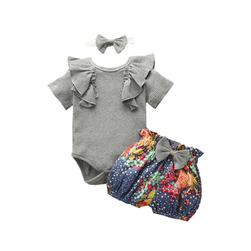 Girly Doll Collar Ribbed Onesie and Floral Shorts